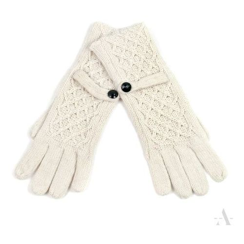 02b6a43473809 Evangarda Białe rękawiczki damskie z ozdobną kratką - biały 33