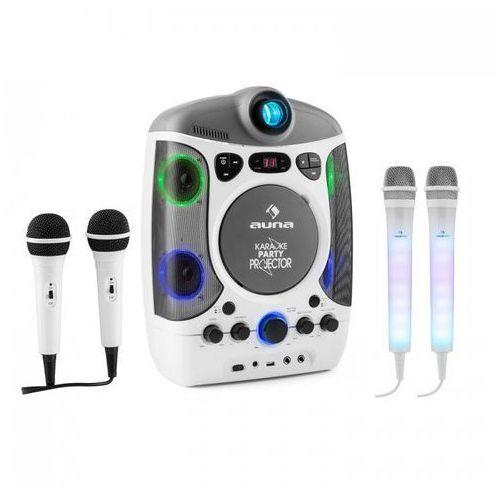 Auna Kara projectura zestaw do karaoke biały + kara dazzl zestaw mikrofonów led