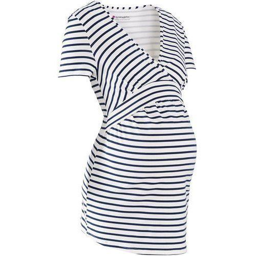 Shirt ciążowy i do karmienia, dekolt w serek, krótki rękaw bonprix biel wełny - ciemnoniebieski w paski