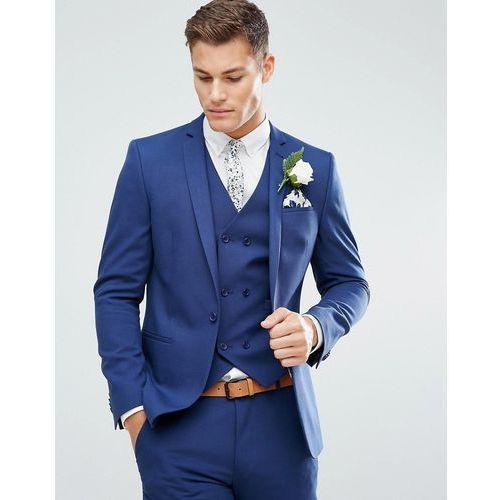 ASOS Wedding Skinny Suit Jacket in Blue Cross Hatch with Printed Lining - Navy, kolor szary