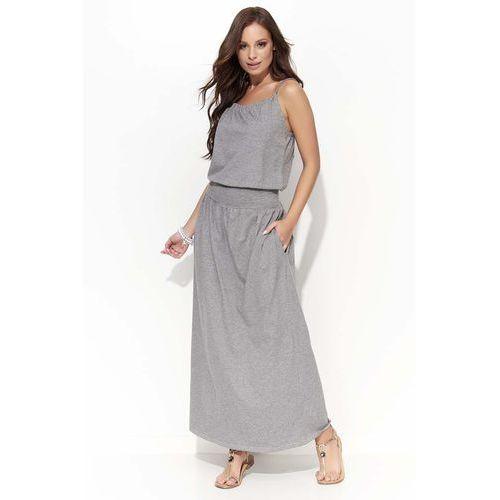 Makadamia Szara długa letnia sukienka na cienkich ramiączkach