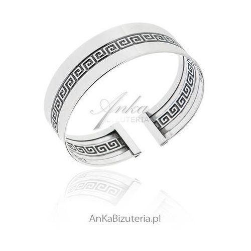 Szeroka bransoleta srebrna sztywna z greckim wzorem, kolor szary