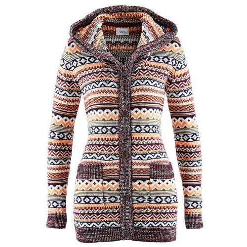 Sweter rozpinany z kapturem bonprix wzorzysty, w 4 rozmiarach
