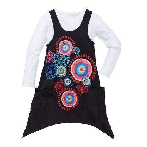 Sukienka + koszulka (kompl. 2-częściowy) bonprix czarny z nadrukiem (sukienka dziecięca)