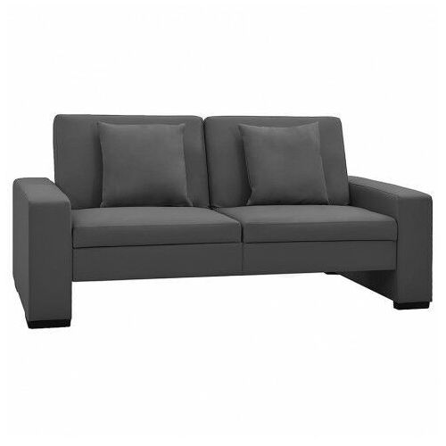Dwuosobowa szara rozkładana sofa z ekoskóry - Arroseta 2S