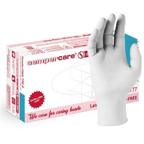 Rękawice nitrylowe sempercare nitrile shine+, bezpudrowe, białe, 150 szt – roz. s marki Semperit