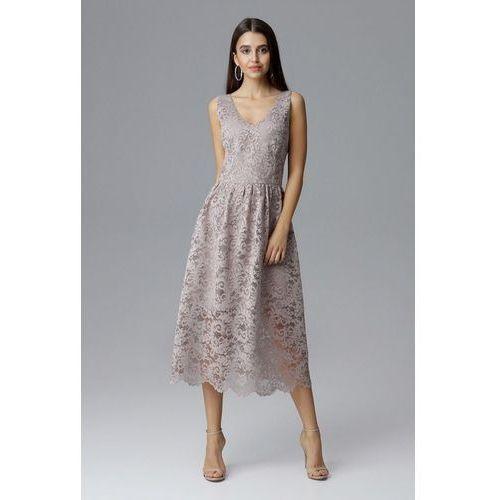 Koronkowa sukienka z dopasowaną górą i swobodnym nieco rozkloszowanym dołem, 36-42