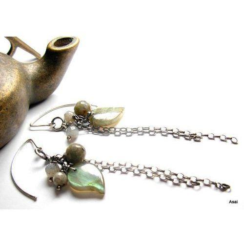 Listki - labradoryt w srebrze - kolczyki, produkt marki galeria-asai