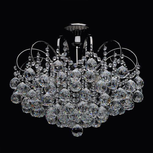 Mw-light Srebrny bogato zdobiony żyrandol na sześć żarówek z okrągłymi kryształami (232016306)