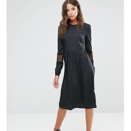 long sleeve midi dress with lace insert - black marki Asos tall