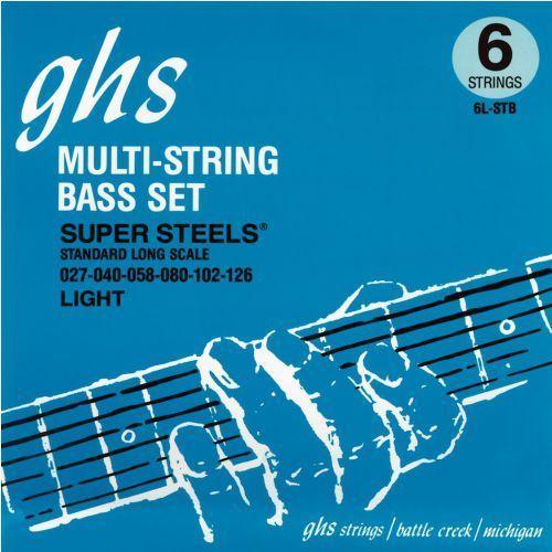 Ghs super steels struny do gitary basowej, 6-str. medium light,.027-.126, high c