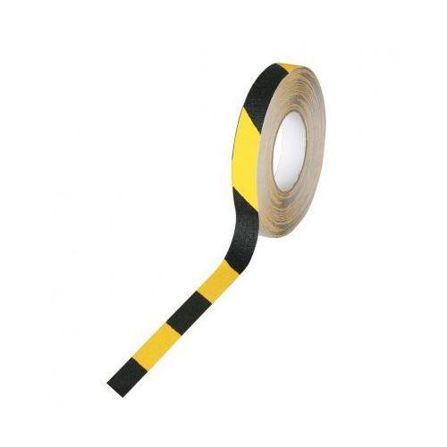 Taśma antypoślizgowa - drobne ziarno 25 mm x 18,3 m, czarno-żółta