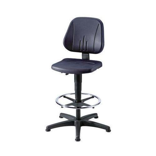 Uniwersalne obrotowe krzesło robocze, na ślizgaczach i z podpórką na stopy, obic