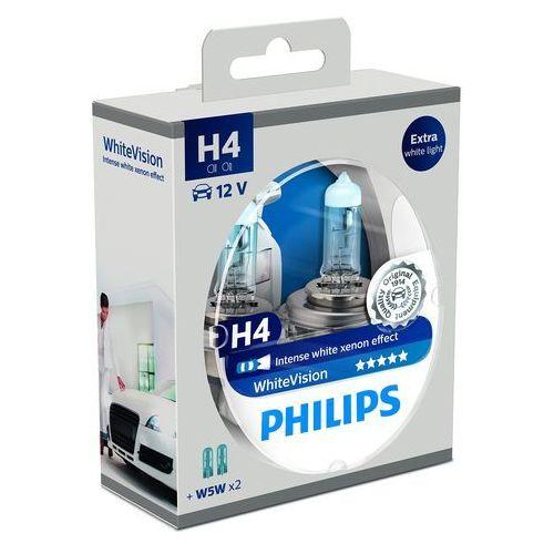 Philips WhiteVision Xenon-Effekt H4 żarówka samochodowa 12342WHVSM, 2 sztuki w zestawie