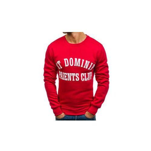 Bluza męska bez kaptura z nadrukiem czerwona Denley J50, kolor czerwony
