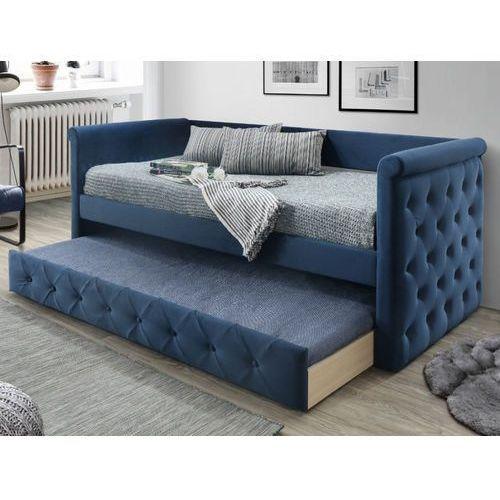 Tapicerowana kanapa louise z wysuwanym łóżkiem – 2 × 90 × 190 cm (dł. × szer. × wys.) – tkanina w kolorze niebieskim marki Vente-unique
