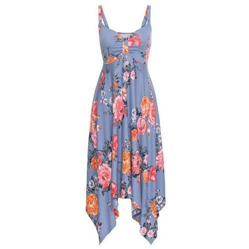 5bbc4ce30a Sukienka z asymetrycznym dołem matowy niebieski w kwiaty