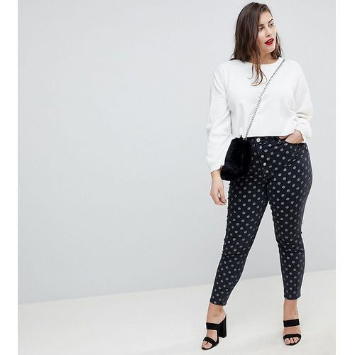 Asos design curve ridley high waist skinny jeans in polka dot print - multi, Asos curve