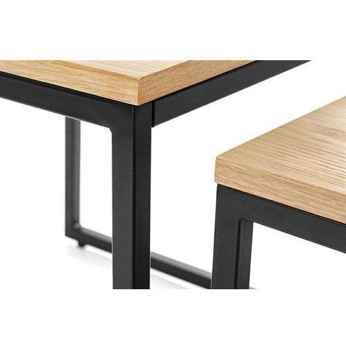 Zestaw stolików loft duo - blat dębowy, nogi metalowe marki King home