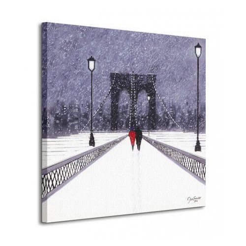 Nighttime Stroll Across Brooklyn Bridge - New York) - Obraz na płótnie, produkt marki brak