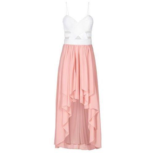 Sukienka z dłuższym tyłem i dekoltem w kształcie serca biało-jasnoróżowy, Bonprix, 34-46