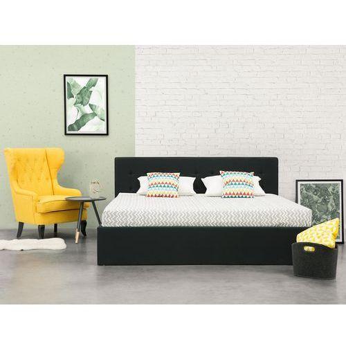Łóżko czarne - 180x200 cm - ze skrzynią na pościel - LORIENT (7105274091266)