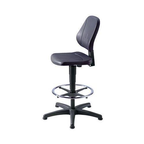 Obrotowe krzesło do pracy z regulacją wysokości sprężyną gazową,pianka PU, czarna