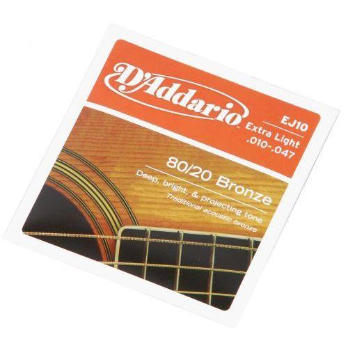 ej-10 struny do gitary akustycznej 80/20 bronze 10-47 marki D′addario