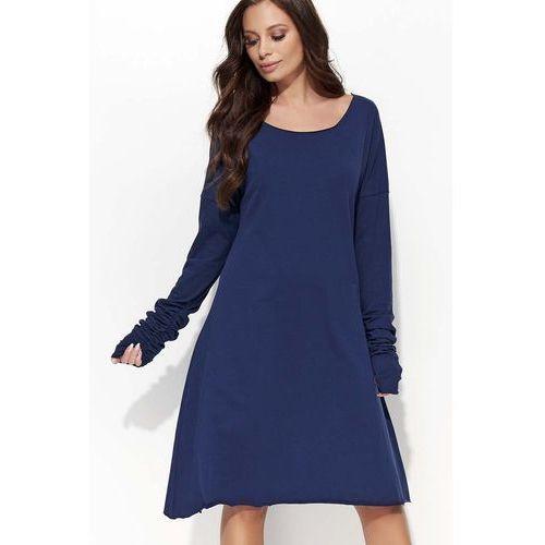 Granatowa Sukienka Trapezowa z Marszczonym Rękawem, kolor niebieski