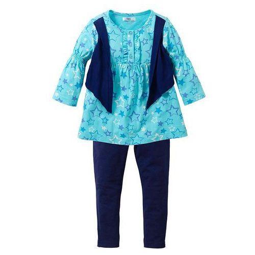 Sukienka + legginsy (kompl. 2-częściowy) bonprix morsko-kobaltowy (sukienka dziecięca)