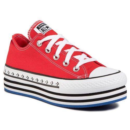 Trampki CONVERSE - Ctas Platform Layer Ox 566763C University Red/White/Black, kolor czerwony
