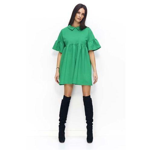 d67e341f1c Zielona sukienka trapezowa z falbankami na rękawach