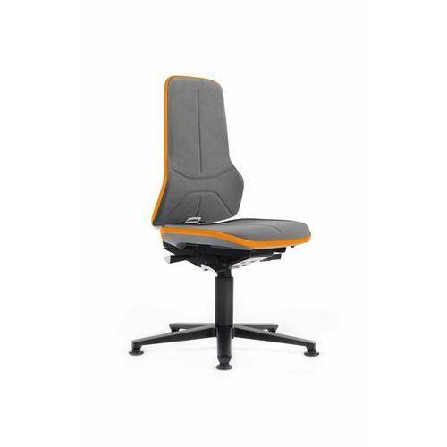 Obrotowe krzesło do pracy ze szkieletem z aluminium, na ślizgaczach podłogowych, marki Bimos
