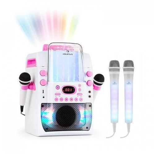 Kara Liquida BT zestaw karaoke różowy + 2 mikrofony Dazzl LED
