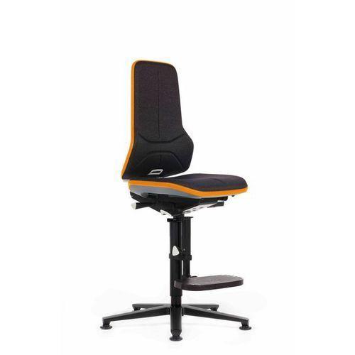 Obrotowe krzesło do pracy ze szkieletem z aluminium,na ślizgaczach z podnóżkiem marki Bimos