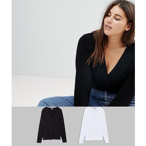 Asos design curve ultimate top with long sleeve and v-neck 2 pack save - multi marki Asos curve