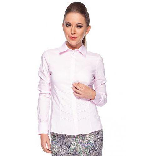 Klasyczna koszula z przeszyciem - Duet Woman, kolor różowy