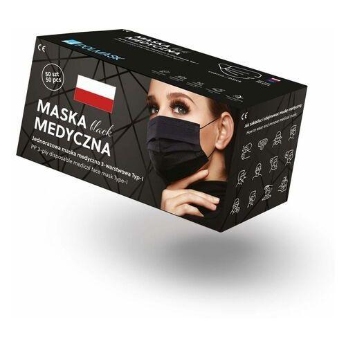 Czarne maseczki jednorazowe medyczne 3-warstowe z filtrem (50szt)