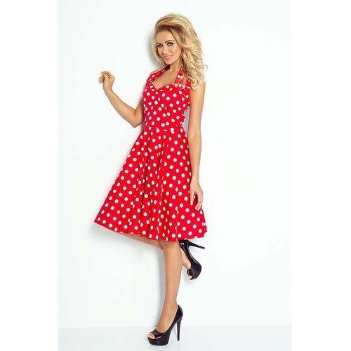 Czerwono biała sukienka rozkloszowana w grochy rockabilly pin up marki Numoco