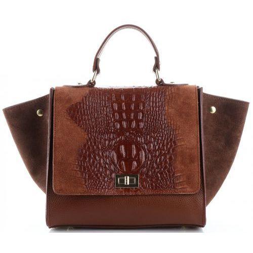 06cd6c5d5ca94 Włoskie torebki skórzane elegancki kuferek wzór aligatora brązowy (kolory)  marki Genuine leather 275