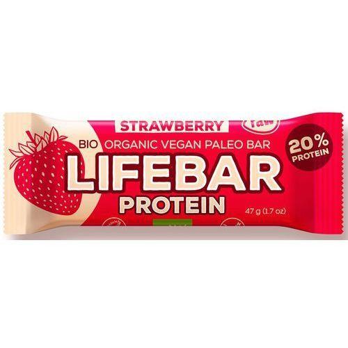 Lifefood (batony i inne produkty raw) Baton truskawkowy proteinowy z białkiem ryżowym bio 47 g - lifefood (8595657101450)