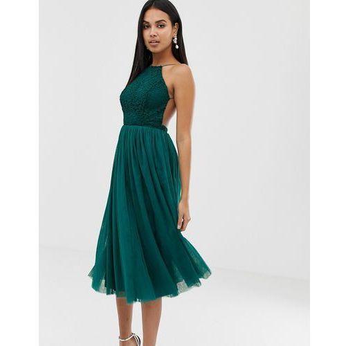 lace top tulle midi dress - multi, Asos design