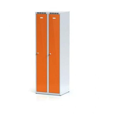 Metalowa szafka ubraniowa, pomarańczowe dwupłaszczowe drzwi, zamek cylindryczny