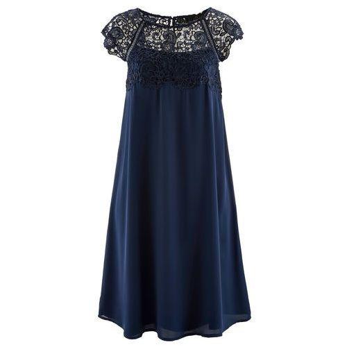 3970dd352c177b Sukienka szyfonowa z koronką bonprix ciemnoniebieski, w 6 rozmiarach 189,99  zł Sukienka z romantyczną nutą, z piękną koronką i zapięciem na 3 guziki z  tyłu.