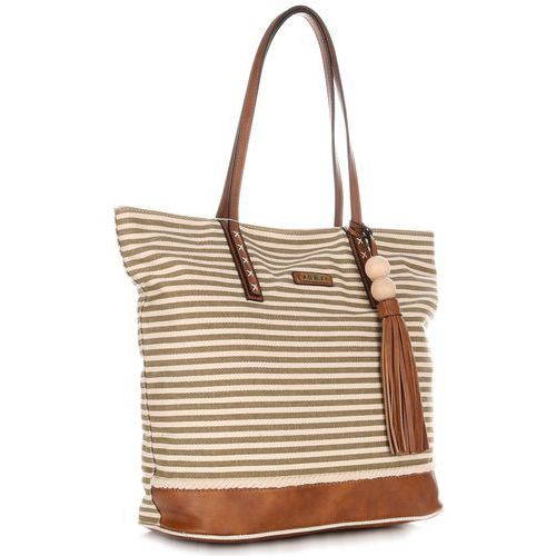 3cc0637d2e907 Duża Torba Damska David Jones Typu Shopper Bag XXL Beżowa Zielona 99