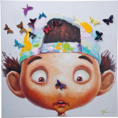 Kare Design Obraz Touched Boy with Butterflys 100x100 - 35201 (obraz)