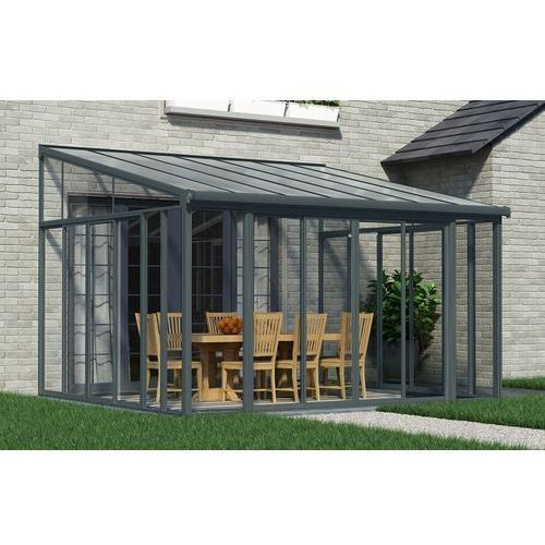 Ogrody zimowe z drzwiami przesuwnymi veranda sanremo 4 x 4,25 m szare marki Palram