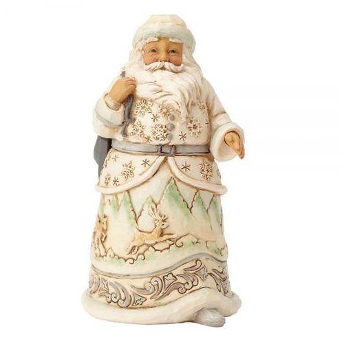 """Jim shore Mikołaj """"gdy zima wzywa"""" when the ice calls (white woodland santa) 4058737 figurka ozdoba świąteczna"""