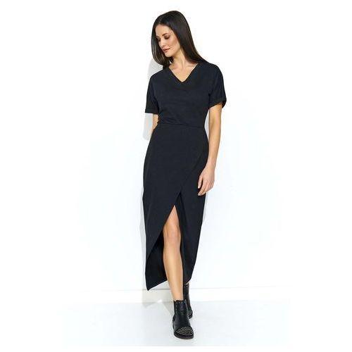 Czarna Długa Dresowa Sukienka z Kopertowym Dołem, DNU178bl