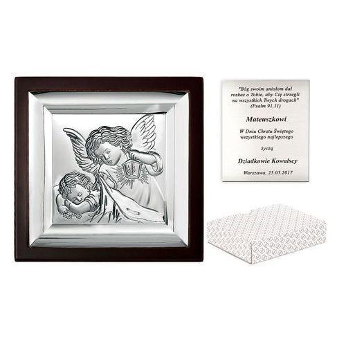 Murrano Obrazek srebrny marone anioł stróż 10cm grawer pr359